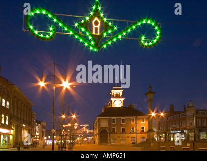 Stockton On Tees Town Hall And Christmas Lights Stockton Cleveland England    Stock Photo