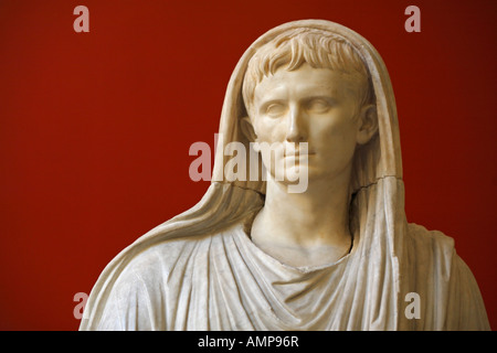 Detail of the statue of Augustus as Pontifex Maximus, Palazzo Massimo alle Terme, National Museum of Rome, Italy - Stock Photo