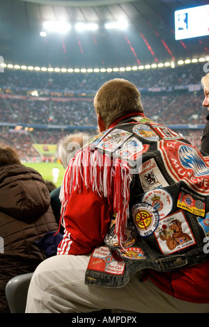 FC Bayern fan with his srecial fan jacket NO PR NO MR for editorial use only No third party rights available - Stock Photo