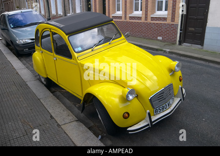 Citroen 2CV parked at Fecamp Normandy France - Stock Photo