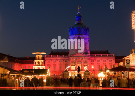 Germany Capital Berlin The first Christmas market in front of the illuminated Charlottenburg Palace the summer residence - Stock Photo
