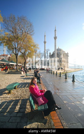 ISTANBUL. Sunday morning by the Mecidiye Mosque on Iskele Meydani in Ortakoy on the European shore of the Bosphorus. - Stock Photo