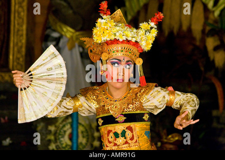 Woman Dancing Legong Performance Ubud Palace Bali Indonesia - Stock Photo