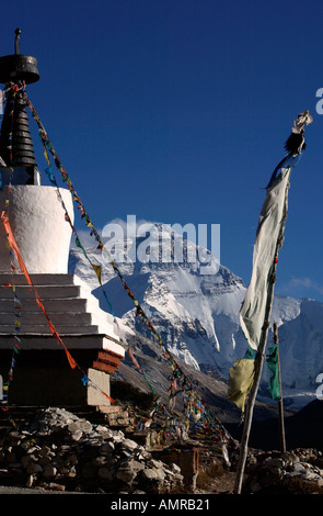 Rongbuk Monastery stupa and Mount Everest north face Himalayas Tibet - Stock Photo