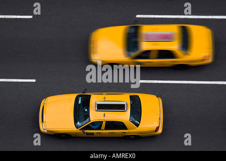 Taxis on 8th Avenue, New York City, New York, USA