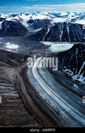 Aerial View Of Norman Glacier, Glacier Lake, Mt Battle Auyuittuq National Park, Nunavut, Canada - Stock Photo