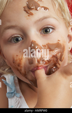 Portrait of Girl With Messy Face - Stock Photo