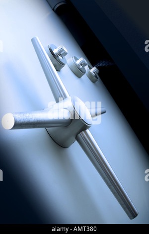 Safe bank vault door, close-up - Stock Photo