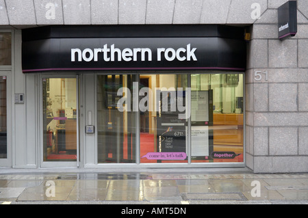 a branch of the troubled Northern Rock bank in London England UK - Stock Photo
