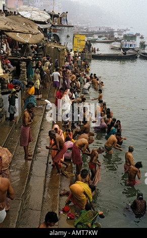 Holy bath in Ganges river (Varanasi-IUttar Pradesh-India) - Stock Photo