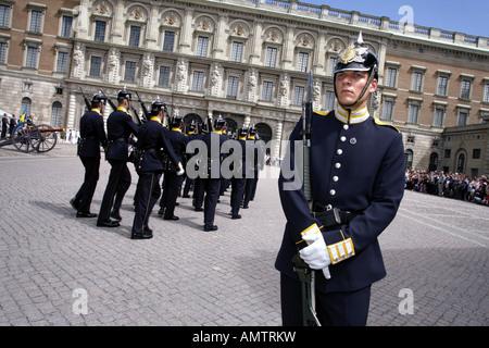 Parade, Stockholm Palace, Stadsholmen, Stockholm, Sweden - Stock Photo