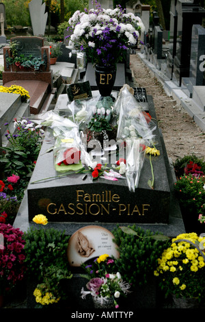Edith Piaf s grave in Pere Lachaise cemetery Paris France Photography by Brendan Duffy - Stock Photo