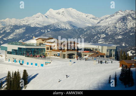 roundhouse atop whistler with Coast Mountains in background Whistler British Columbia Canada - Stock Photo