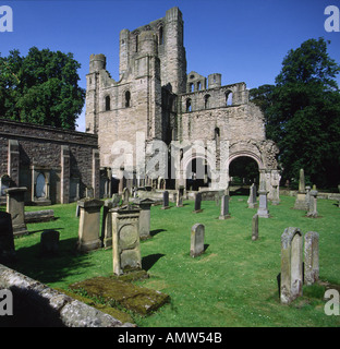 Kelso Abbey Scottish Borders UK 12th century Tironensian romanesque architecture founded by King David 1st now ruined - Stock Photo
