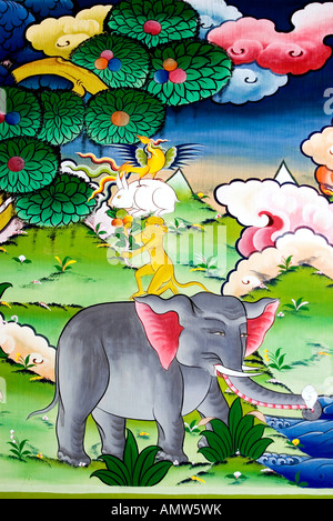 Mural of one of Bhutan's favorite fable: the four harmonious friends. It's a story about friendship and teamwork. - Stock Photo