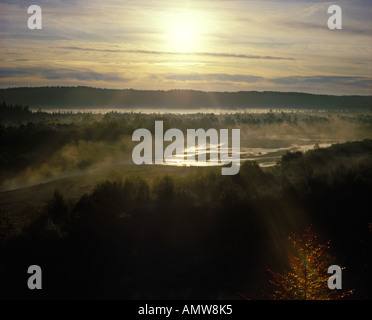 Pupplinger Au Isar river in morning light Bavaria Germany - Stock Photo