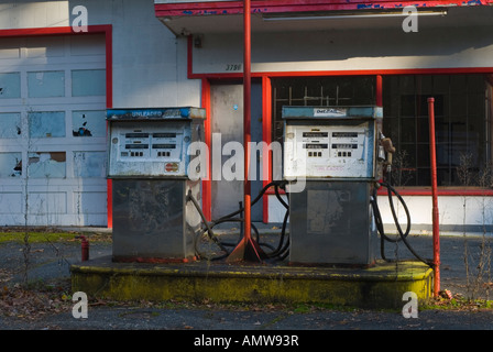 Old, Out of Use Gas Pumps and Gas Station - Stock Photo