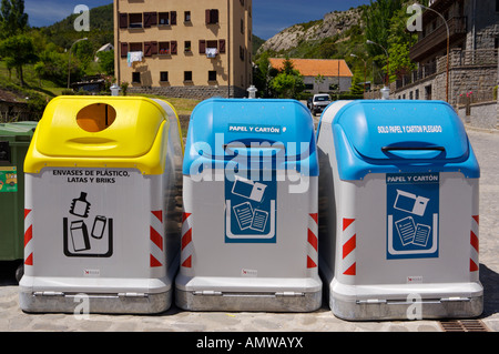 Recycle bins in the Village of Hecho, Valle de Hecho, Huesca, Jacetania, Aragon, Spain, Europe. - Stock Photo