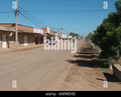 Street scene in the Mennonite colony, Filadelfia, Fernheim, Gran Chaco, Paraguay - Stock Photo
