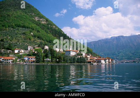 View of Peschiera Maraglio on Monte Isola the only island on Lake Iseo  - Stock Photo