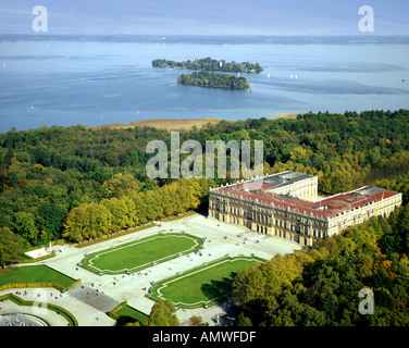 DE - BAVARIA: Herrenchiemsee Castle and Lake Chiemsee - Stock Photo