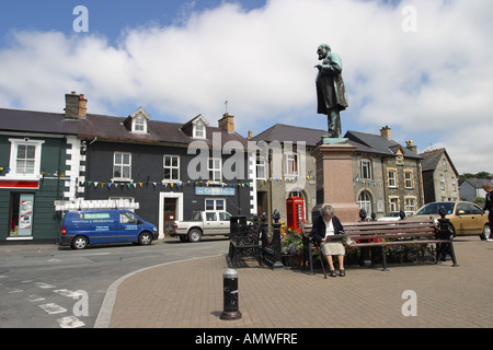 Tregaron town centre is a small rural town in Ceredigion west Wales - Stock Photo
