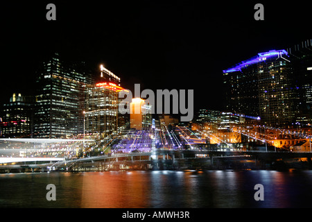 Skyline of the City of Brisbane using manual blur technique taken from South Bank Australia - Stock Photo