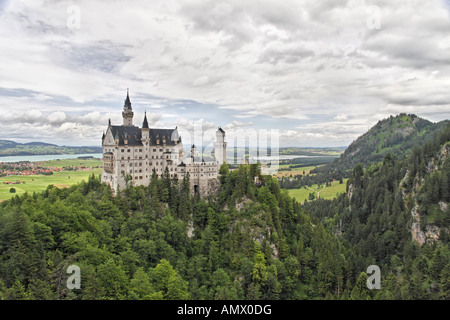 Neuschwanstein Castle, Germany, Bavaria, Allgaeu, Fuessen - Stock Photo
