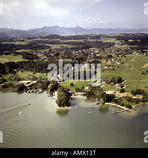 general view with spa and pier, Germany, Bavaria, Prien am Chiemsee - Stock Photo