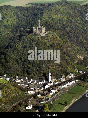 Wellmich and Burg Maus, Mouse Castle, Germany, Rhineland-Palatinate, St. Goarshausen - Stock Photo