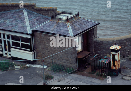Building at the entrance of the derelict Birnbeck Pier, Weston Super Mare, Somerset, UK - Stock Photo