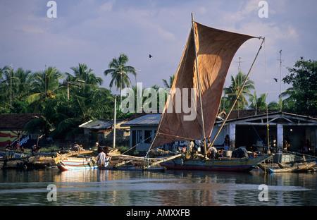 old oruvas boat in the harbor of Negombo - Stock Photo