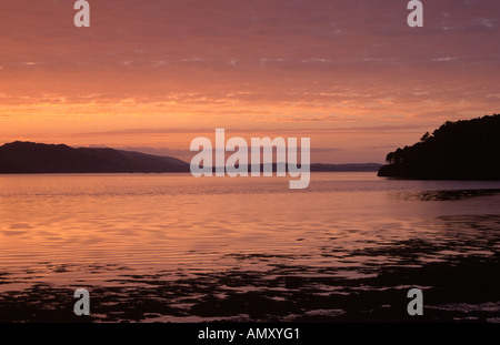 A spectacular September sunset over Loch Ewe on the North West coast of Scotland - Stock Photo