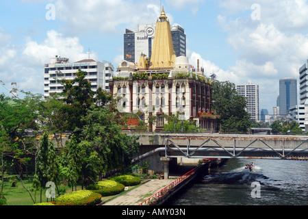 Hindu temple on riverside, Bangkok, Thailand - Stock Photo