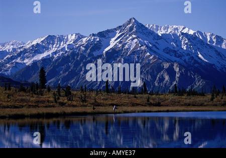 Couple Flyfishing in Lake Chugach Mts SC Alaska Fall - Stock Photo