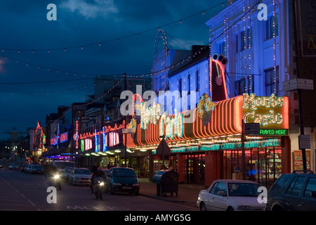 The lights of the 'golden mile' at Southend on Sea, Essex, England, UK. Shot at night. - Stock Photo