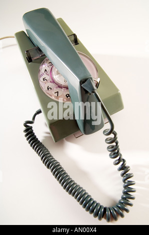 Two-tone green BT Trimphone from the 70s, shot on a white background. Ideal for contact us page of websites. - Stock Photo