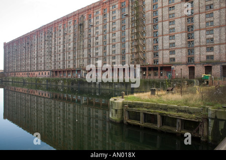 Stanley Dock built in 1848 Liverpool  UK with a large tobacco warehouse adjacent reputed to be the largest in Europe - Stock Photo
