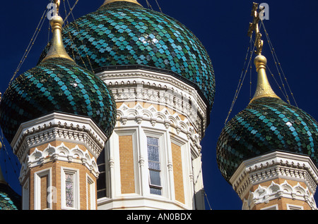 Nice Russian church Alpes-Maritimes 06 French Riviera Cote d'azur PACA France Europe - Stock Photo