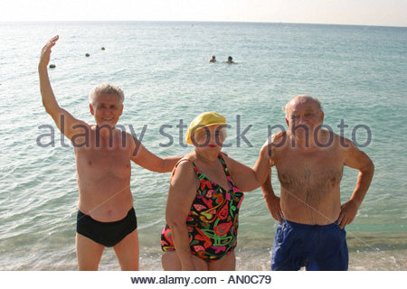Miami Beach Florida Eastern European Jewish immigrant sunbathers - Stock Photo