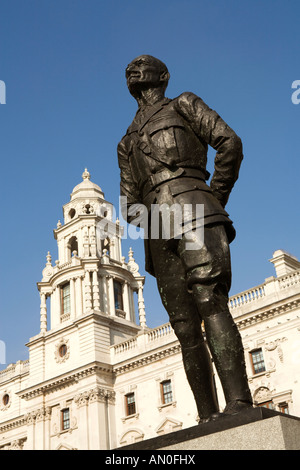 UK London Whitehall Parliament Square Jan Smuts Statue and Treasury Building - Stock Photo