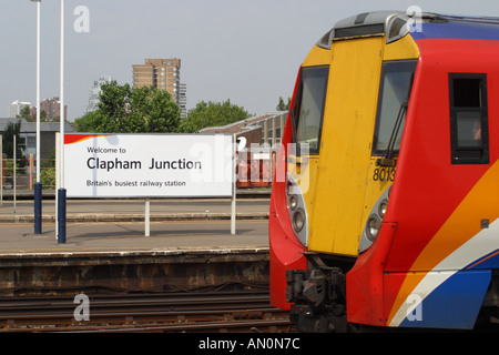 Clapham Junction railway station with South West Trains train - Stock Photo