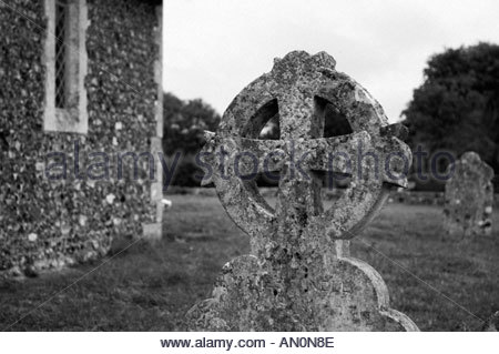 Old Celtic Cross Covered In Lichens Churchyard Tintagel