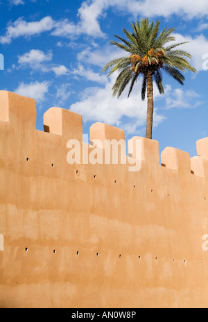 The wall of Taroudant, a section of ramparts topped by a palm tree. - Stock Photo