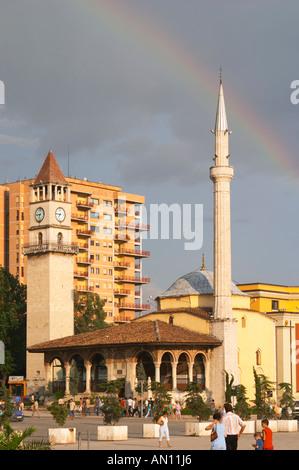 The Ethem Bey Beu Mosque. View across the square. The Tirana Main Central Square, Skanderbeg Skanderburg Square. - Stock Photo