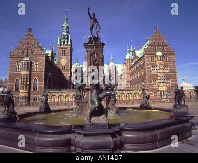 Denmark Hillerod Frederiksborg Castle palace fountain - Stock Photo