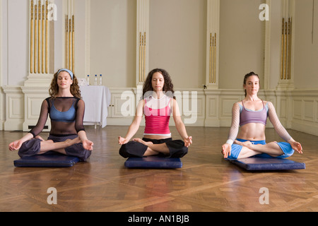 studio with yoga mats on wooden floor for group training