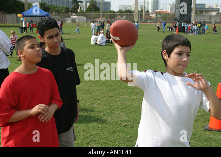 Miami Beach Florida Flamingo Park Youth Sports Expo sponsored by City of Miami Beach Parks and Recreation Department - Stock Photo