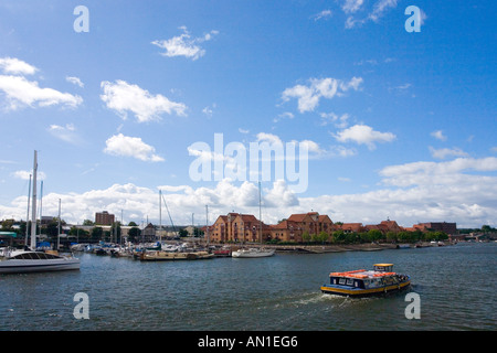 Bristol docks and marina on a sunny summers day with blue sky and white clouds Bristol Avon Somerset England UK - Stock Photo