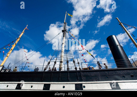 SS Great Britain on sunny summers day with blue sky and white clouds Bristol Avon Somerset UK - Stock Photo